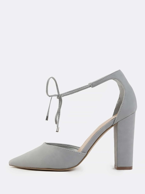 Pointy Toe Chunky Heels GREY -SheIn(Sheinside)