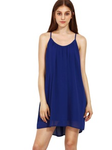 Spaghetti Strap Hollow Shift Neon Blue Braces Sun Slip Dresses