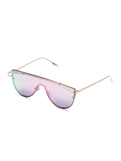 Pink Lens Gold Frame Curved Sunglasses