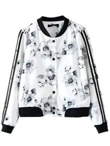 White Floral Print Striped Sleeve Jacket