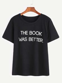 Camiseta de manga corta de impresión de lema negro