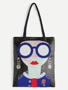 Black Sequin Girl Cute Tote Bag