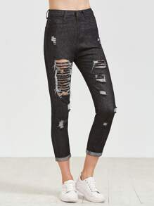 Black Skinny Ripped Cuffed Jeans