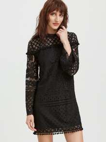 Black Pom Pom  Trim Floral Lace Dress