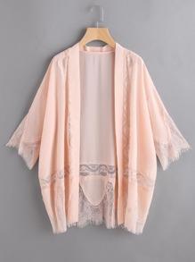 Pink Lace Trim 3/4 Sleeve Kimono