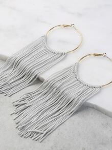 Drop Tassel Hoop Earrings GREY