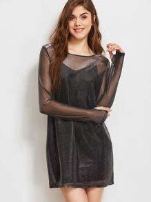 Black Thumb Hole Sleeve Organza Dress With Cami Dress