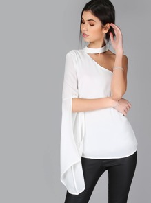 One Shoulder Split Sleeve Choker Top WHITE