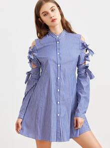 Blue Striped Bow Tie Sleeve Shirt Dress