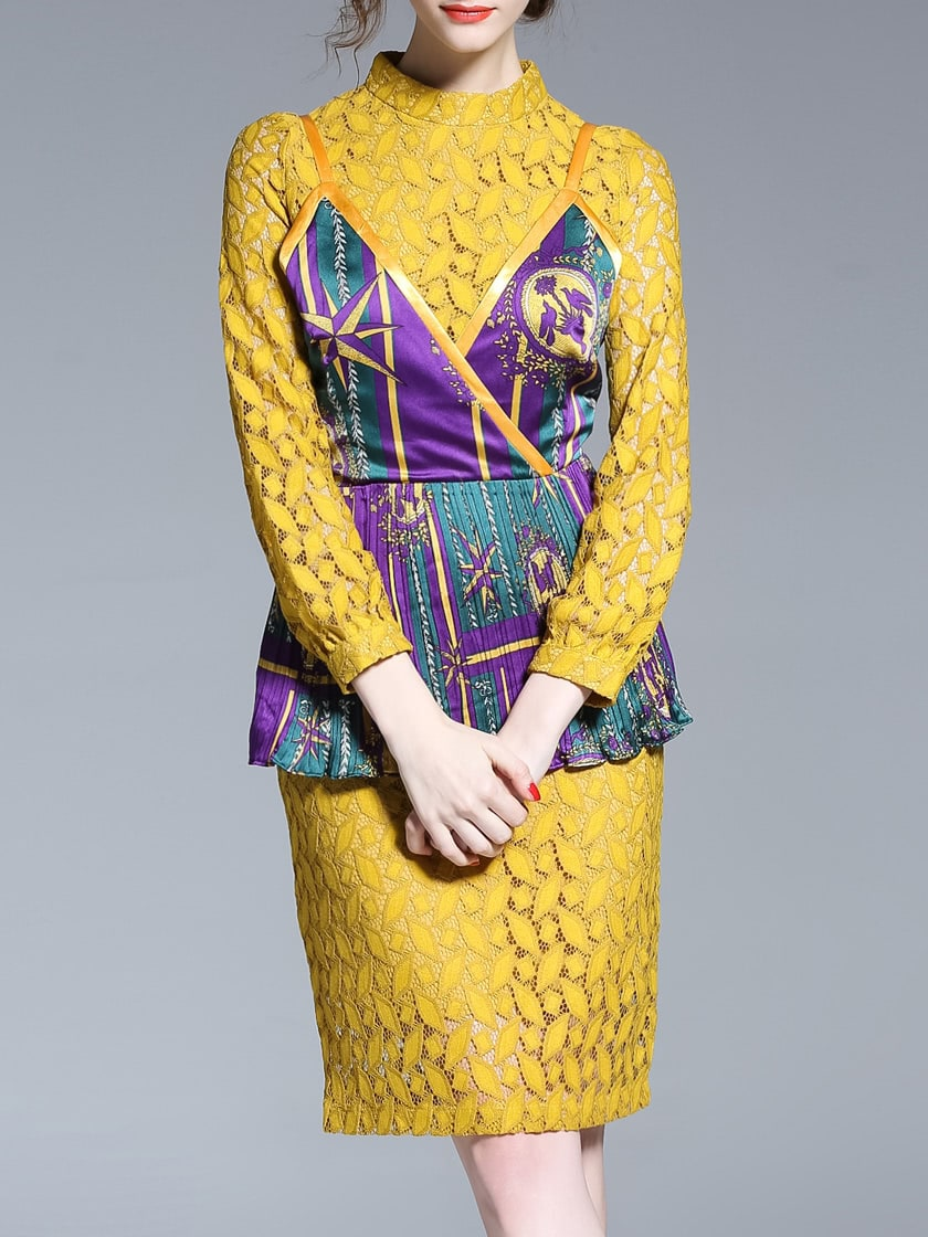 Фото Yellow Lace Spaghetti Strap Print Two-pieces Dress. Купить с доставкой