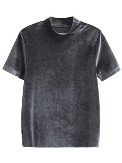 Grey Mock Neck Velvet T-shirt