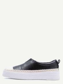 Zapatillas pu con detalle en tejido - negro blanco