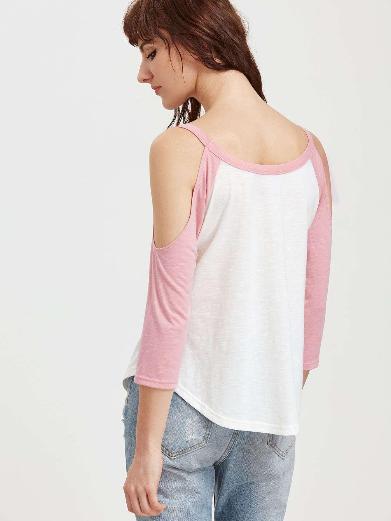 Contrast open shoulder 3 4 raglan sleeve t shirt shein for 3 4 sleeve shirt template