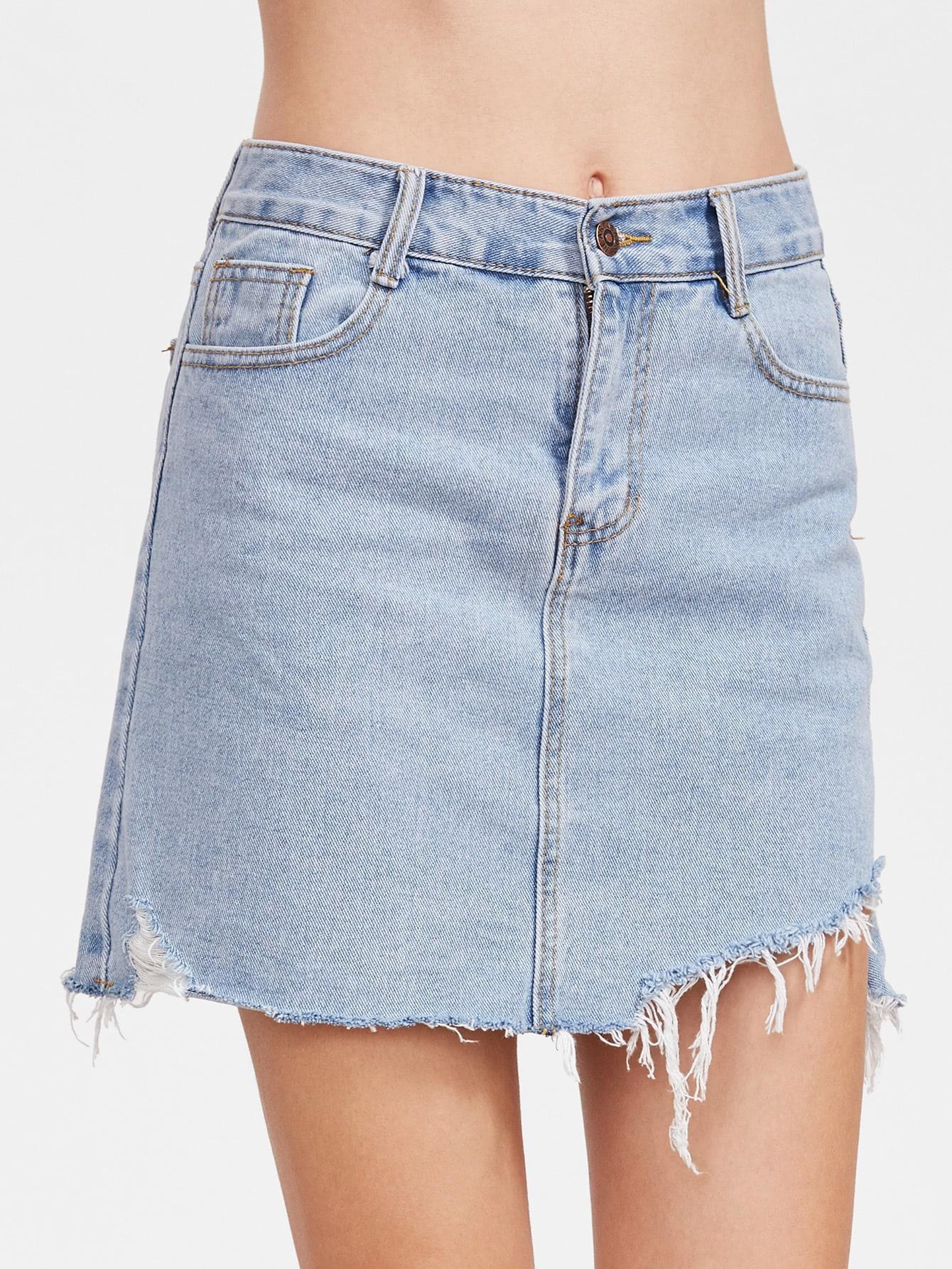 Фото Bleach Wash Raw Hem Denim Skirt. Купить с доставкой