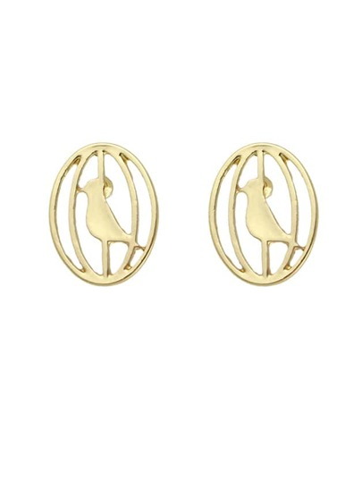 Gold Color Cute Metal Bird Cage Small Stud Earrings