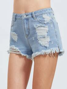 Shorts en denim efecto lavado rotos - bleu