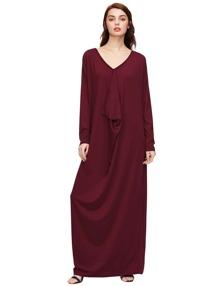Red Drop Shoulder Draped Cocoon Dress