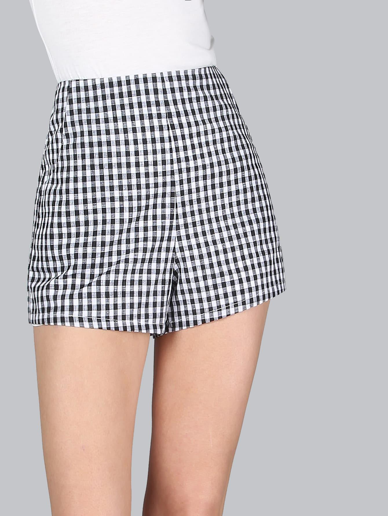Checkered High Waist Shorts BLACK -SheIn(Sheinside)