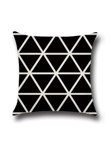Black Geometric Print Cushion Cover