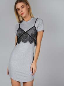 Lace Bralette Over T-Dress GREY