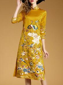 Yellow Collar Birds Embroidered Shift Cheongsam Dress