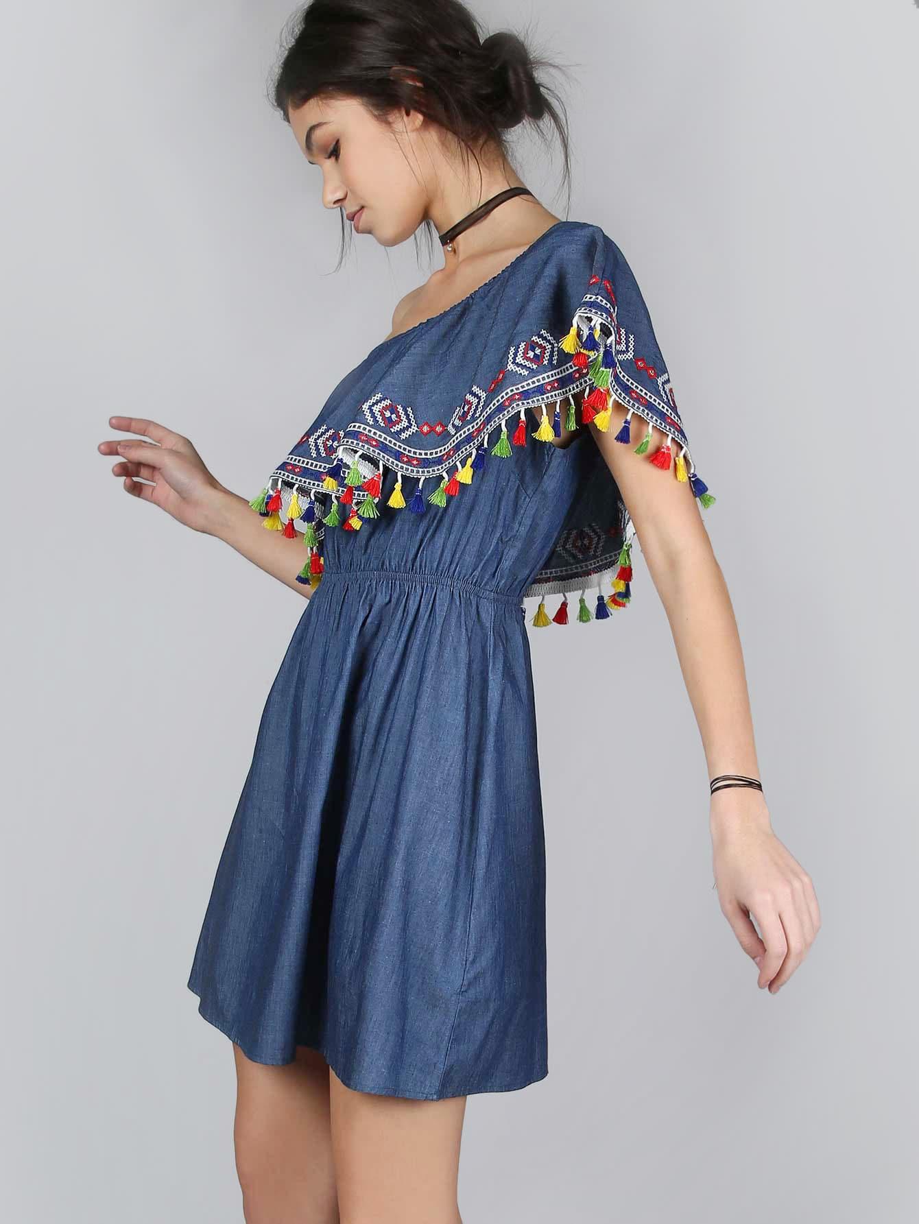 Фото One Shoulder Tassel Dress INDIGO. Купить с доставкой