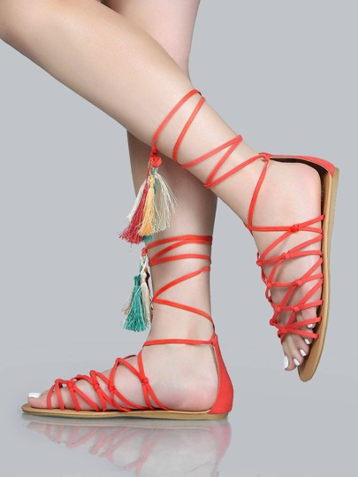 Knotted Tassel Sandals CORAL