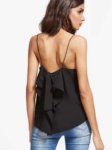 Black Ruffle Bow Tie Back Cami Top