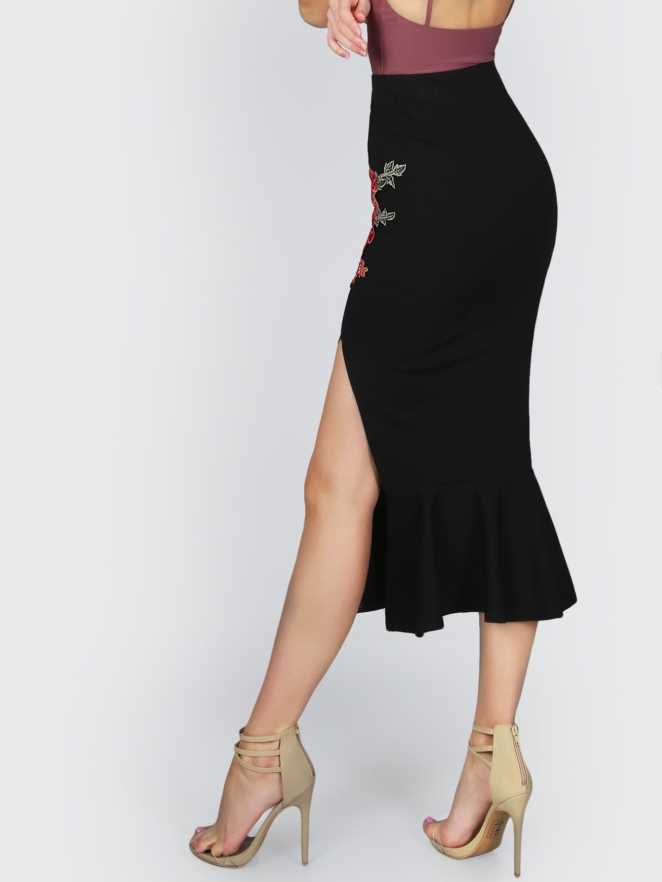 embroidered slit peplum midi skirt black shein sheinside