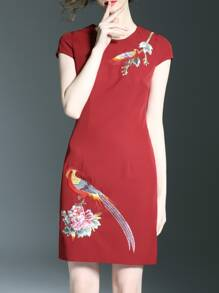 Red Birds Flowers Embroidered Sheath Dress