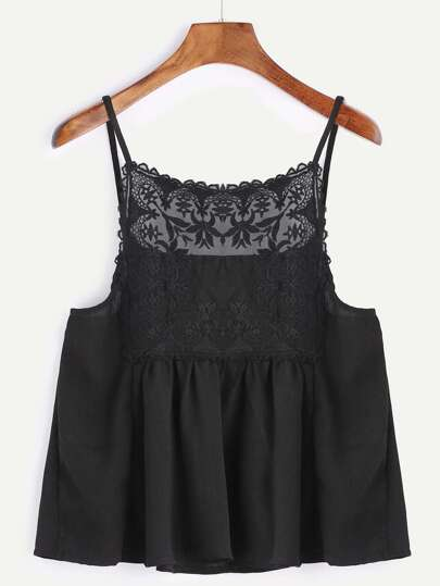Black Contrast Flower Embroidered Mesh Cami Top