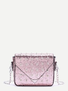Pink Studded Design Sequin Chain Bag
