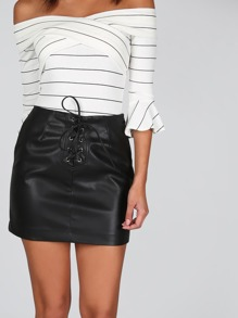 Faux Leather Lace Up Skirt BLACK