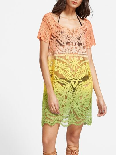 Ombre Scoop Neck Embroidered See Through Dress