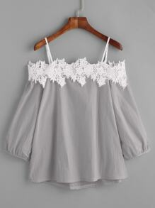 Grey Cold Shoulder Appliques Top
