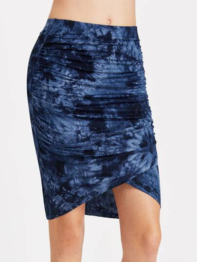 Tie Dye Overlap Ruched Skirt