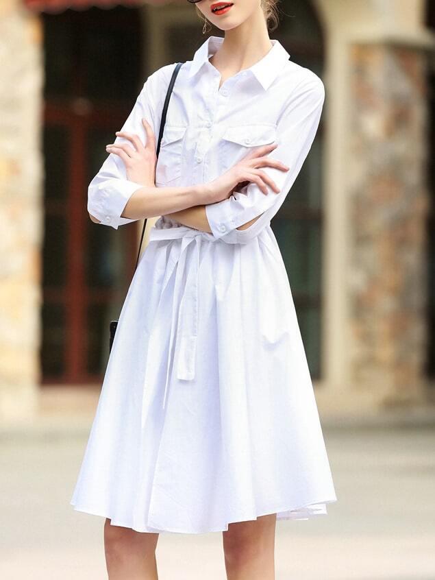 Фото White Lapel Pockets Tie-Waist Dress. Купить с доставкой