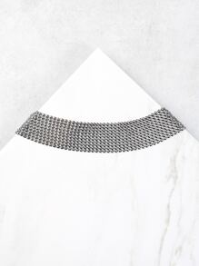 Reflective Metallic Choker Necklace SILVER