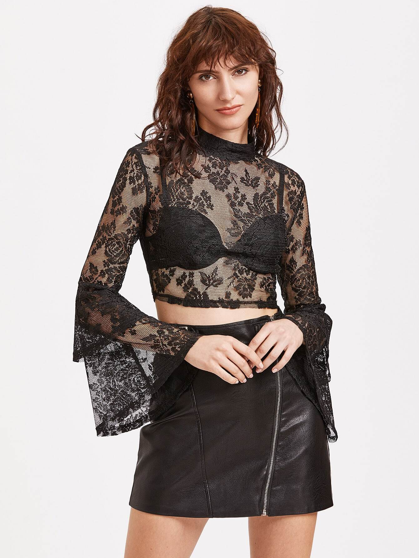Black Bell Sleeve Sheer Floral Lace Top blouse170224703