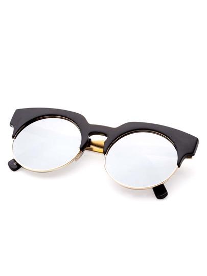Golden Frame Black Sunglasses : Black And Gold Frame Round Sunglasses -SheIn(Sheinside)