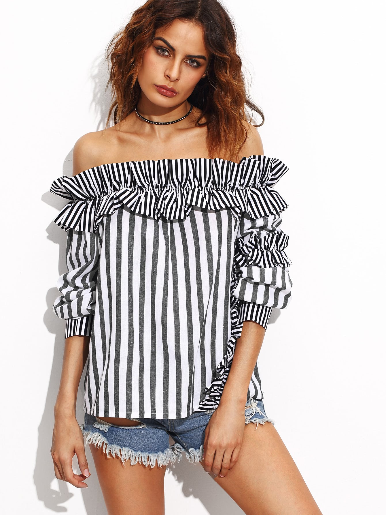 Grey And White Striped Ruffle Trim Off The Shoulder Top