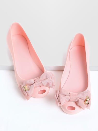 Pink Bow Embellished Peep Toe Ballet Flats