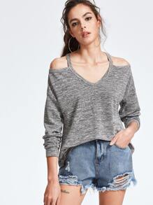 Camiseta de punto asimétrica con hombro descubierto - gris