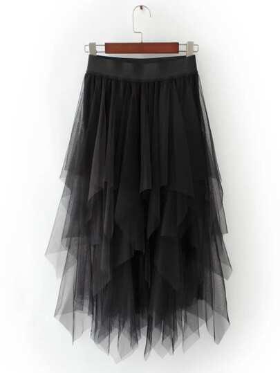 Black Asymmetric Tiered Mesh Skirt