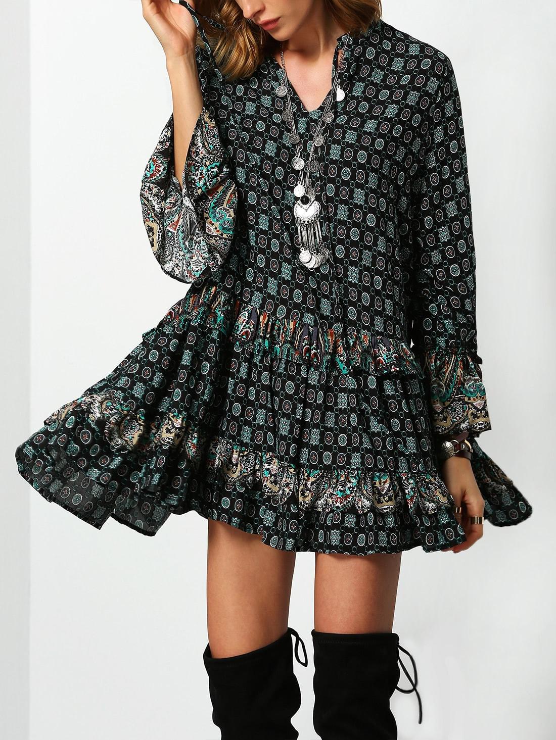 Фото Bell Sleeve Tribal Print Tiered Dress. Купить с доставкой