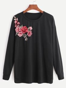 Black Flower Embroidered Patch Sweatshirt