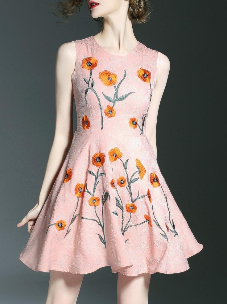 Фото Pink Flowers Embroidered A-Line Dress. Купить с доставкой