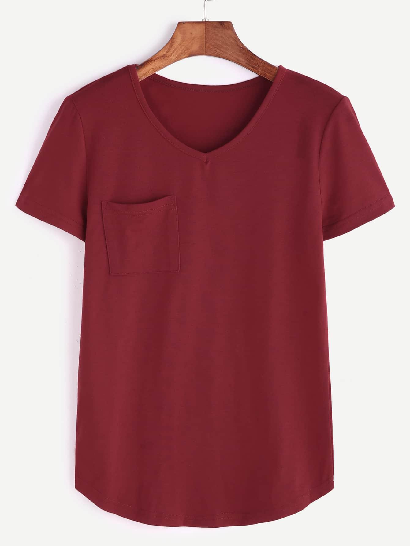 Фото V Neck Curved Hem Pocket T-shirt. Купить с доставкой