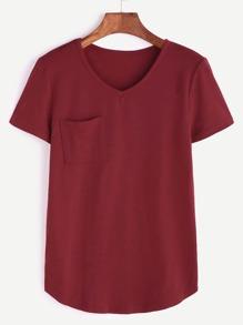 Borgogna con scollo a V curvo Hem tasca T-shirt