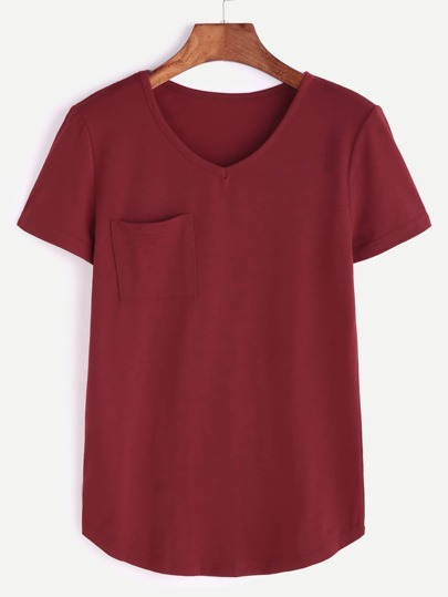 V Neck Curved Hem Pocket T-shirt
